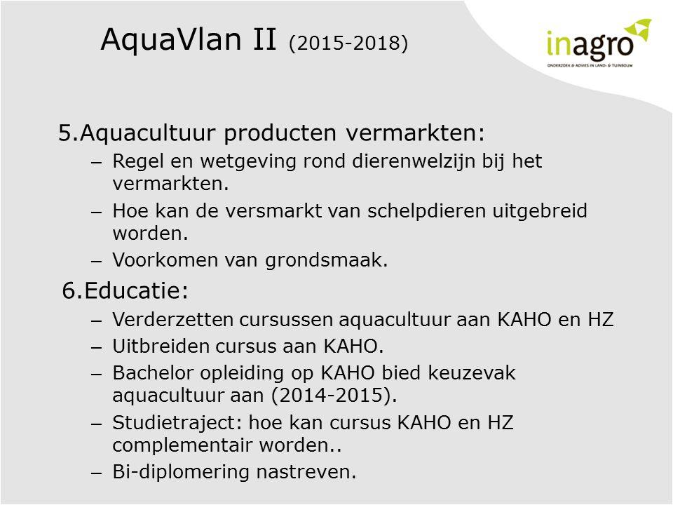 AquaVlan II (2015-2018) 5.Aquacultuur producten vermarkten: – Regel en wetgeving rond dierenwelzijn bij het vermarkten. – Hoe kan de versmarkt van sch