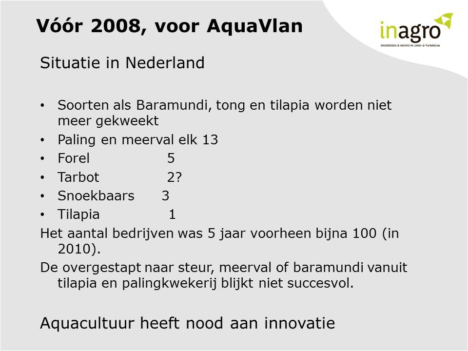 Vóór 2008, voor AquaVlan Situatie in Nederland Soorten als Baramundi, tong en tilapia worden niet meer gekweekt Paling en meerval elk 13 Forel 5 Tarbo