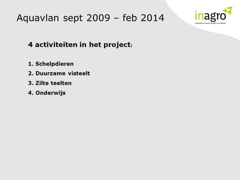 4 activiteiten in het project : 1. Schelpdieren 2. Duurzame visteelt 3. Zilte teelten 4. Onderwijs Aquavlan sept 2009 – feb 2014