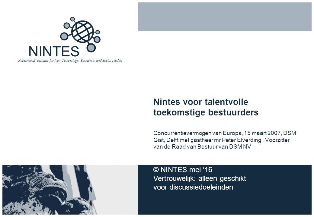 NINTES Netherlands Institute for New Technology, Economic and Social studies Nintes voor talentvolle toekomstige bestuurders Concurrentievermogen van