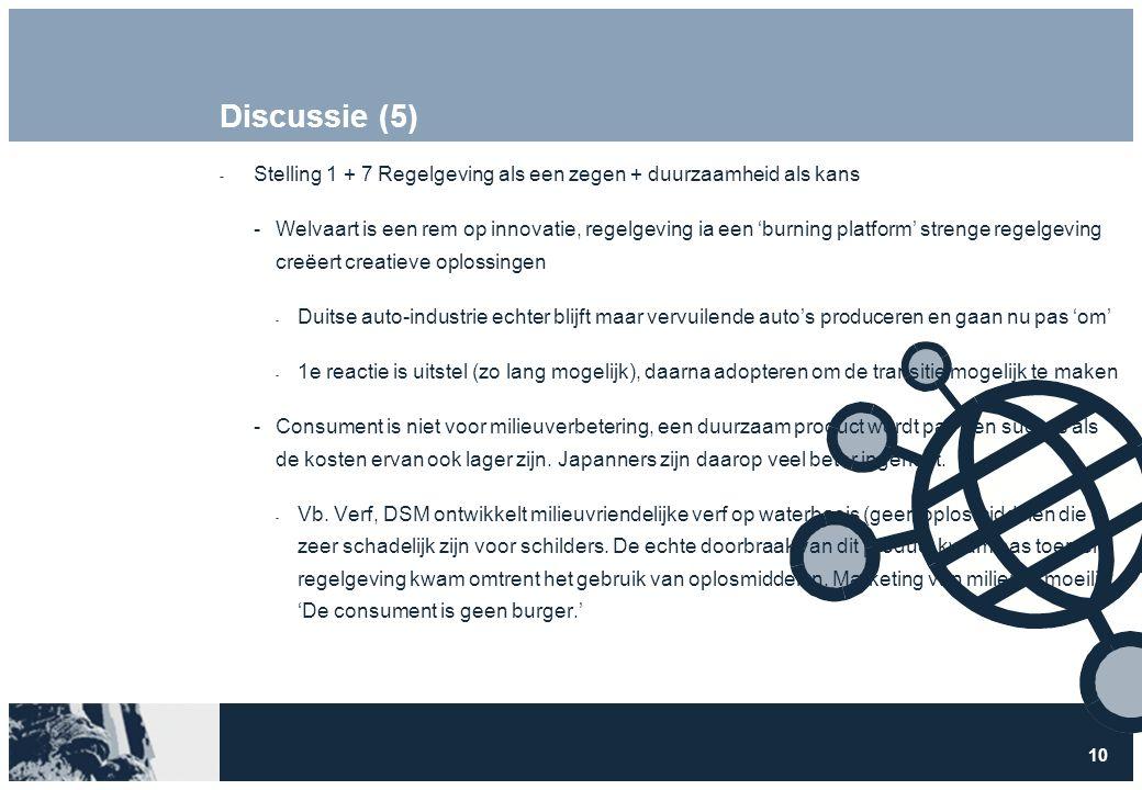 10 Discussie (5)  Stelling 1 + 7 Regelgeving als een zegen + duurzaamheid als kans Welvaart is een rem op innovatie, regelgeving ia een 'burning pla