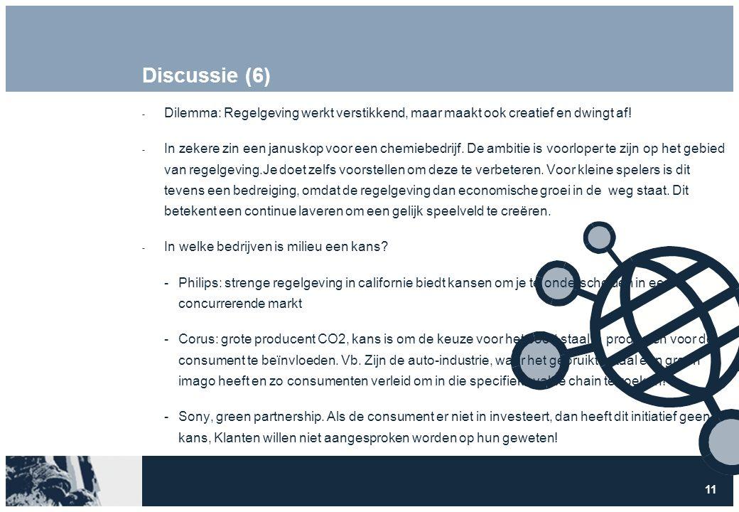 11 Discussie (6)  Dilemma: Regelgeving werkt verstikkend, maar maakt ook creatief en dwingt af!  In zekere zin een januskop voor een chemiebedrijf.