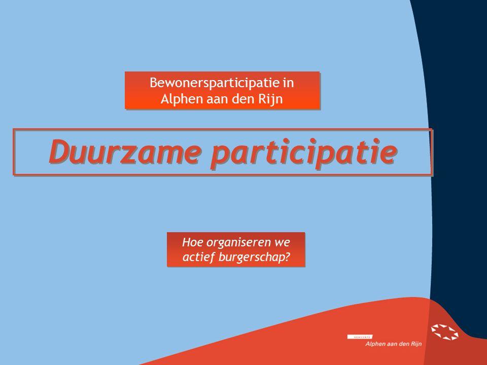 Bewonersparticipatie in Alphen aan den Rijn Duurzame participatie Hoe organiseren we actief burgerschap?
