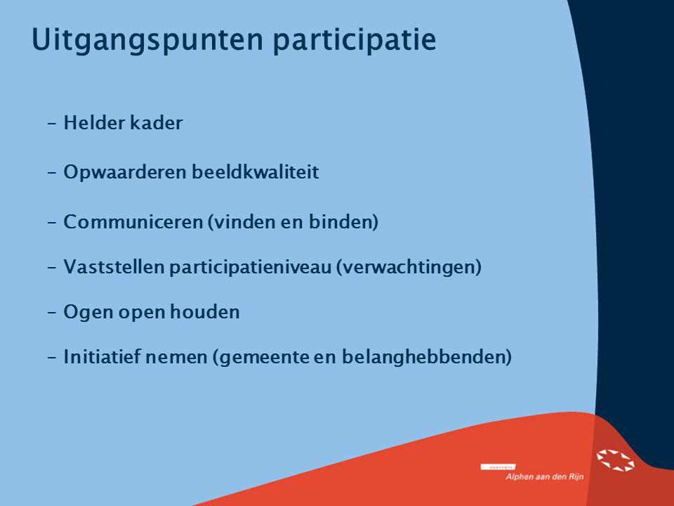 Uitgangspunten participatie - Helder kader - Opwaarderen beeldkwaliteit - Communiceren (vinden en binden) - Vaststellen participatieniveau (verwachtin