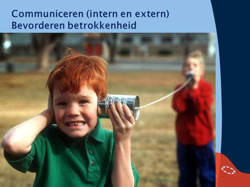 Communiceren (intern en extern) Bevorderen betrokkenheid