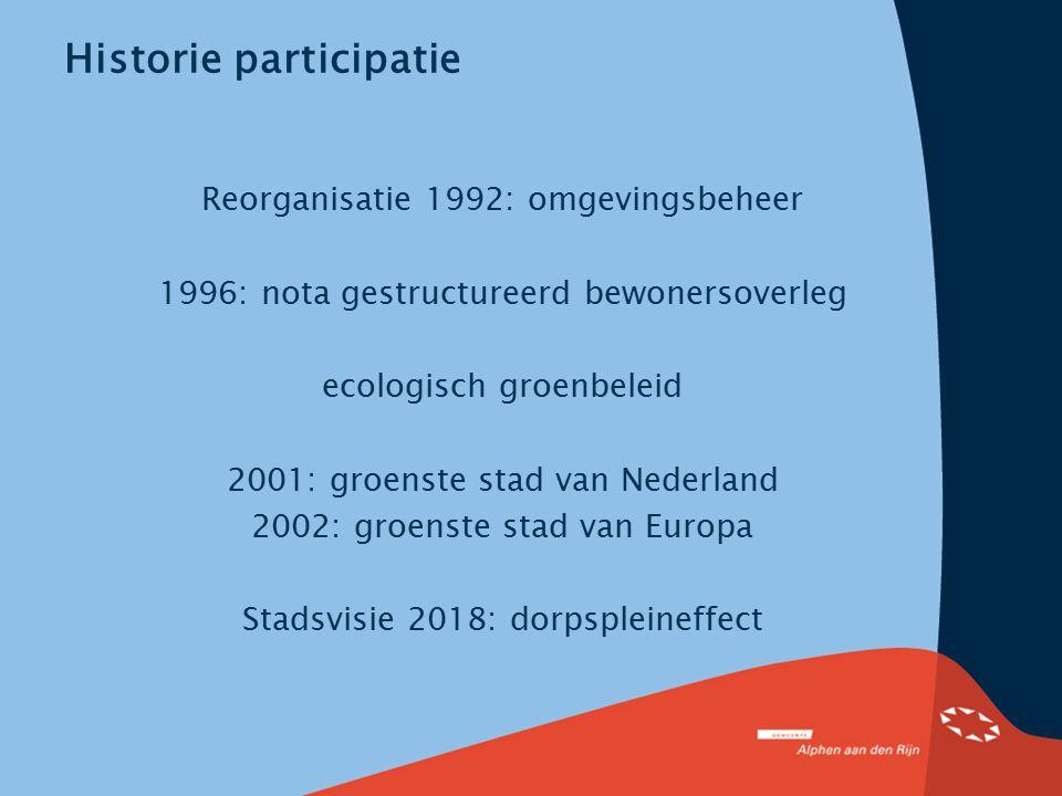 Historie participatie Reorganisatie 1992: omgevingsbeheer 1996: nota gestructureerd bewonersoverleg ecologisch groenbeleid 2001: groenste stad van Ned