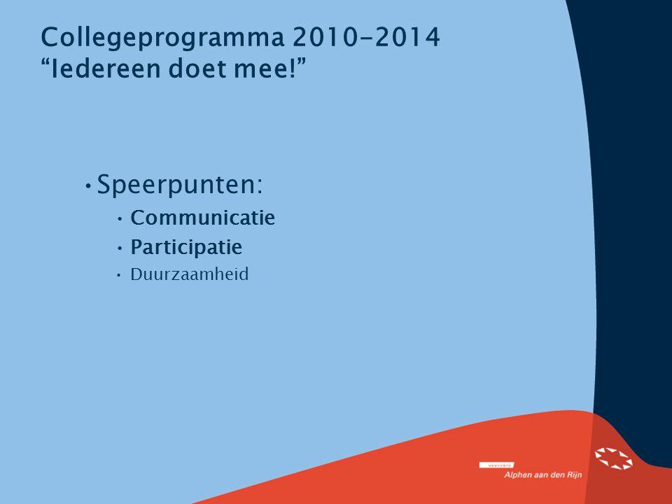 """Collegeprogramma 2010-2014 """"Iedereen doet mee!"""" Speerpunten: Communicatie Participatie Duurzaamheid"""
