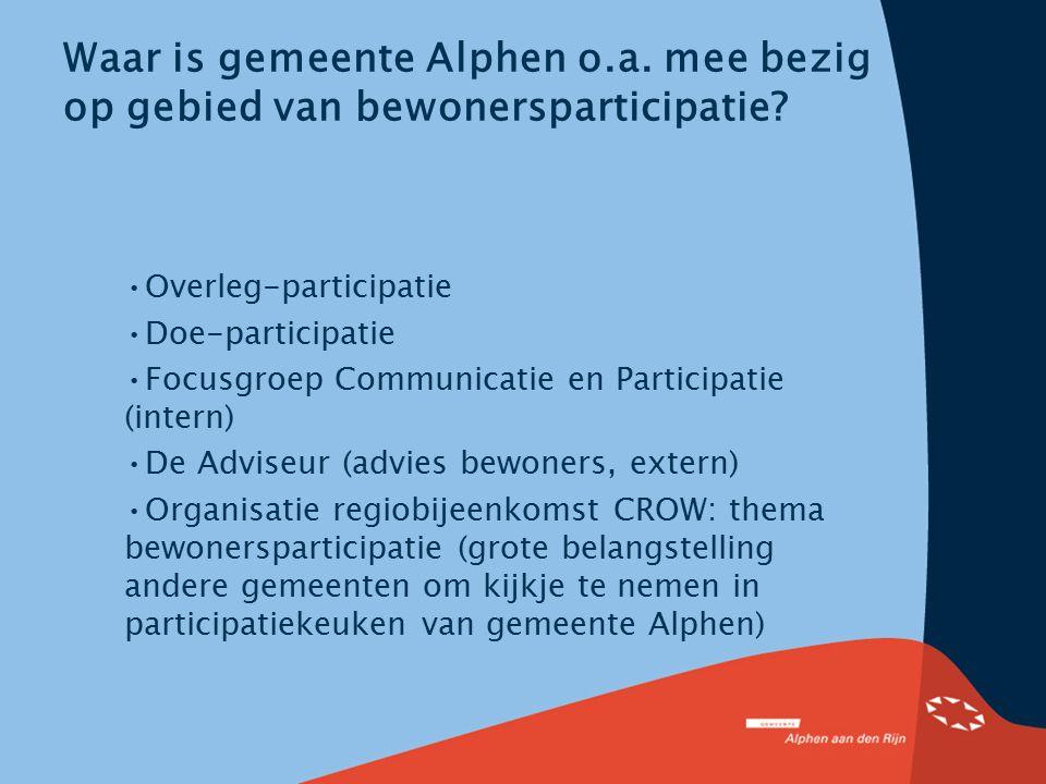 Waar is gemeente Alphen o.a. mee bezig op gebied van bewonersparticipatie? Overleg-participatie Doe-participatie Focusgroep Communicatie en Participat