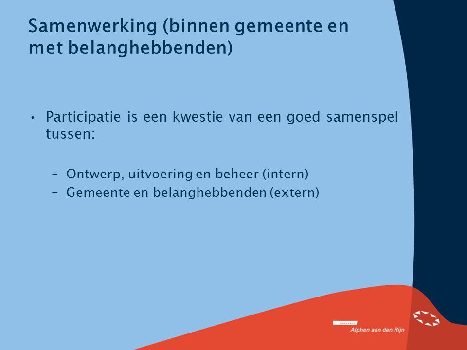 Samenwerking (binnen gemeente en met belanghebbenden) Participatie is een kwestie van een goed samenspel tussen: –Ontwerp, uitvoering en beheer (inter