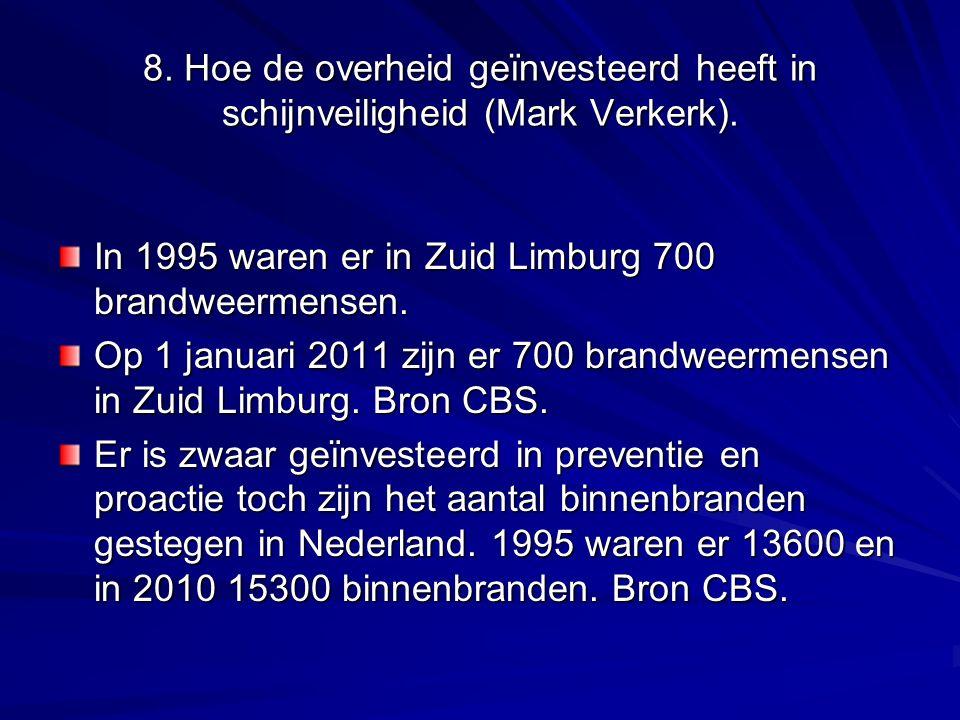 8. Hoe de overheid geïnvesteerd heeft in schijnveiligheid (Mark Verkerk). In 1995 waren er in Zuid Limburg 700 brandweermensen. Op 1 januari 2011 zijn