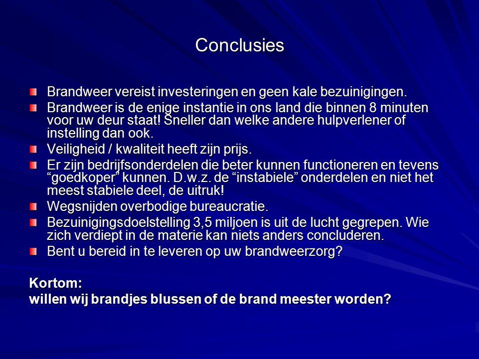 Conclusies Brandweer vereist investeringen en geen kale bezuinigingen.