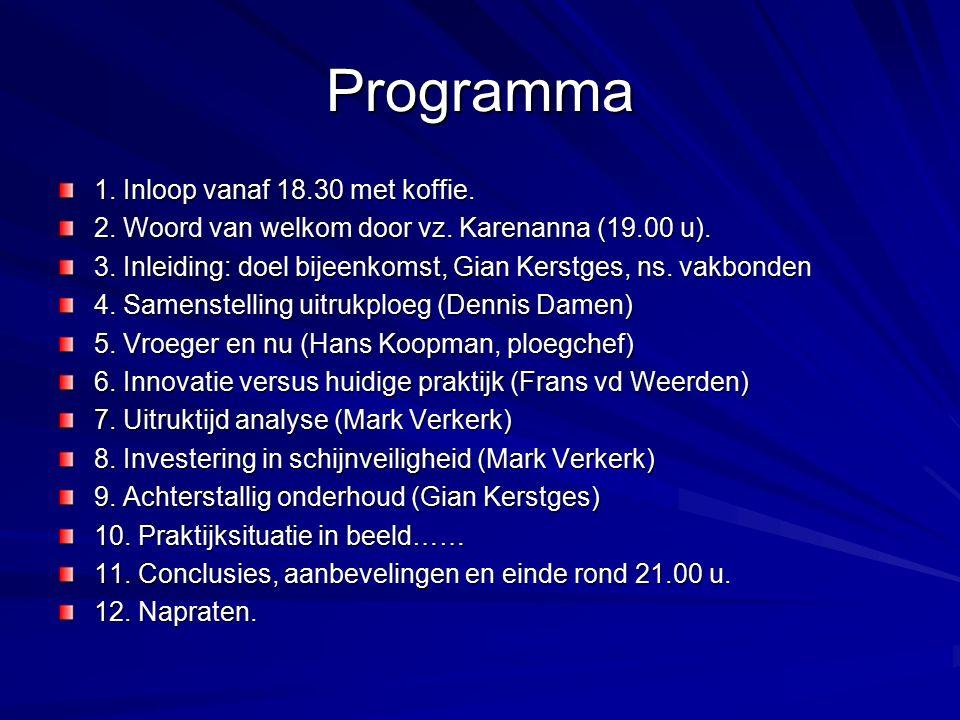 Programma 1. Inloop vanaf 18.30 met koffie. 2. Woord van welkom door vz. Karenanna (19.00 u). 3. Inleiding: doel bijeenkomst, Gian Kerstges, ns. vakbo