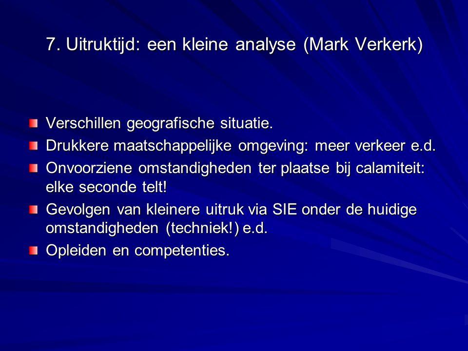 7. Uitruktijd: een kleine analyse (Mark Verkerk) Verschillen geografische situatie. Drukkere maatschappelijke omgeving: meer verkeer e.d. Onvoorziene