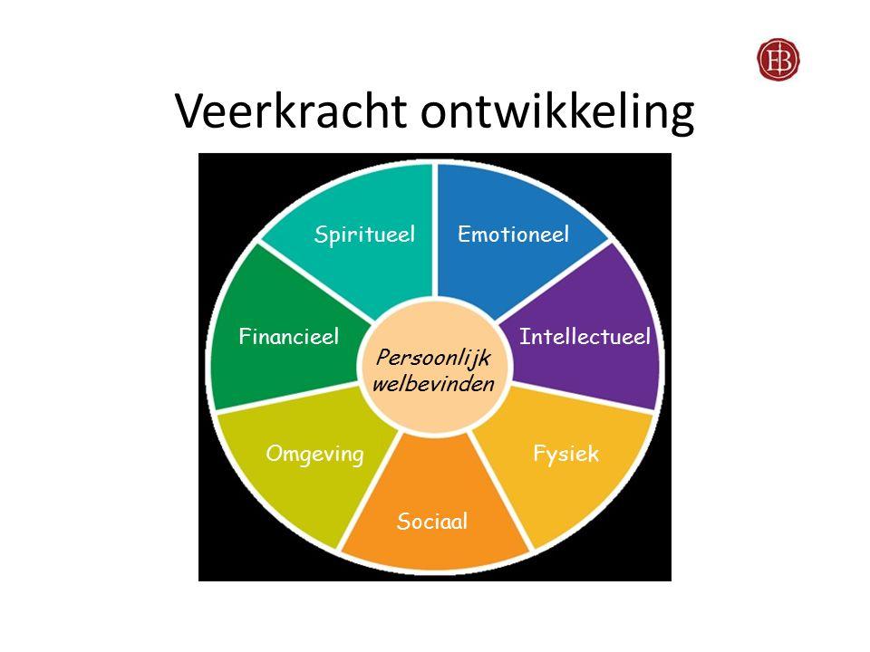 Veerkracht ontwikkeling Intellectueel EmotioneelSpiritueel Financieel OmgevingFysiek Sociaal Persoonlijk welbevinden