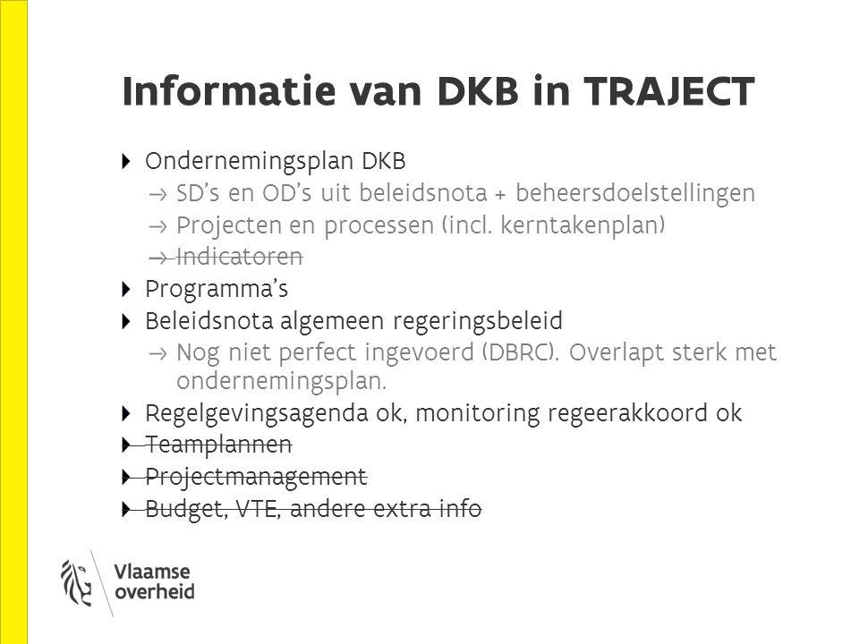 Informatie van DKB in TRAJECT Ondernemingsplan DKB SD's en OD's uit beleidsnota + beheersdoelstellingen Projecten en processen (incl.