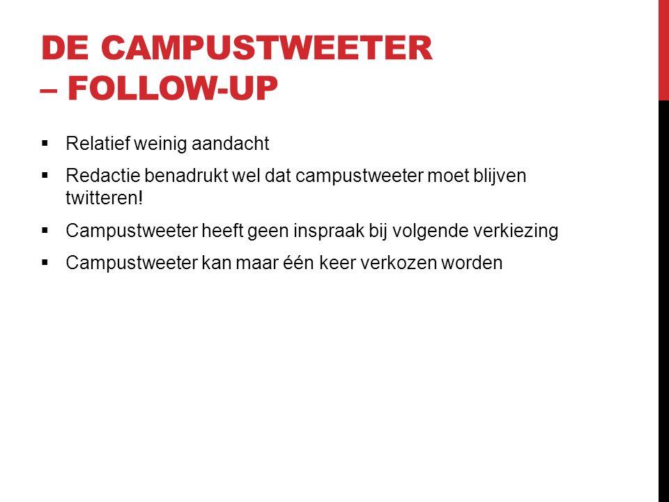DE CAMPUSTWEETER – FOLLOW-UP  Relatief weinig aandacht  Redactie benadrukt wel dat campustweeter moet blijven twitteren.