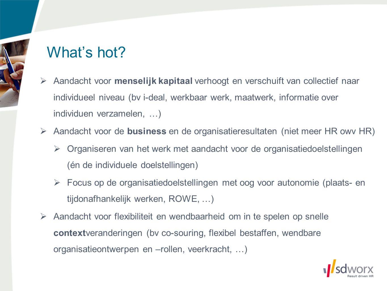 What's hot?  Aandacht voor menselijk kapitaal verhoogt en verschuift van collectief naar individueel niveau (bv i-deal, werkbaar werk, maatwerk, info