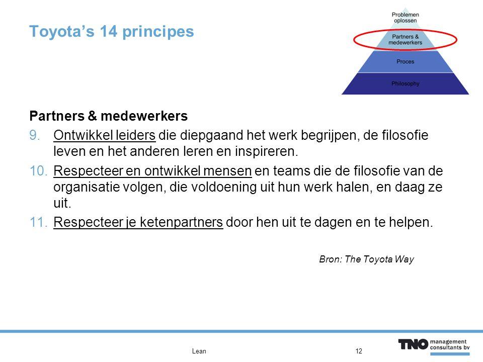 Toyota's 14 principes Partners & medewerkers 9.Ontwikkel leiders die diepgaand het werk begrijpen, de filosofie leven en het anderen leren en inspireren.