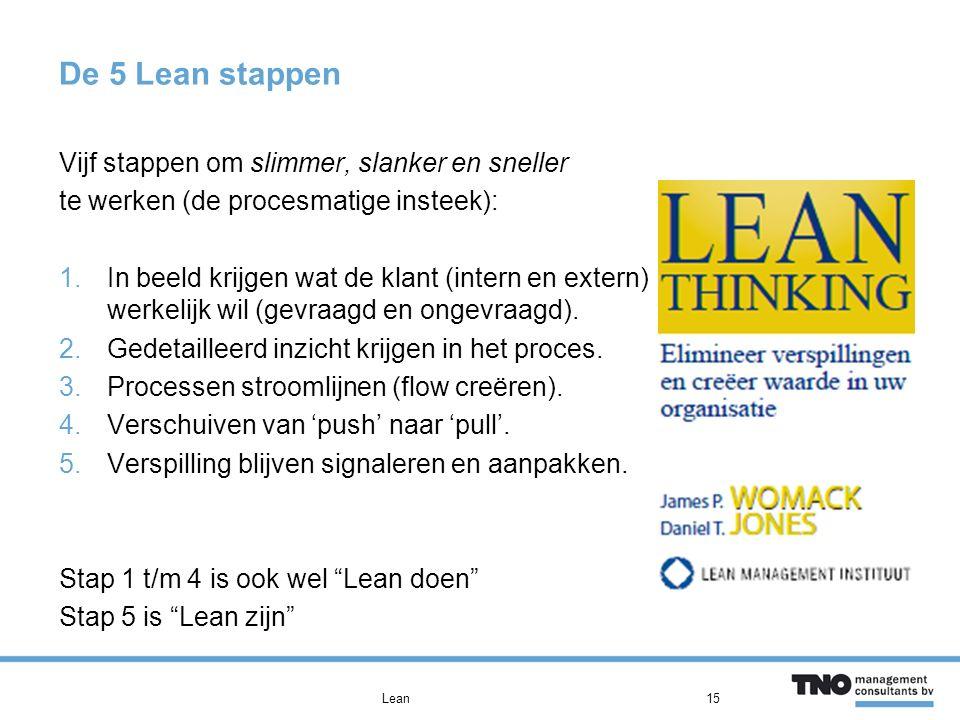 De 5 Lean stappen Vijf stappen om slimmer, slanker en sneller te werken (de procesmatige insteek): 1.In beeld krijgen wat de klant (intern en extern) werkelijk wil (gevraagd en ongevraagd).