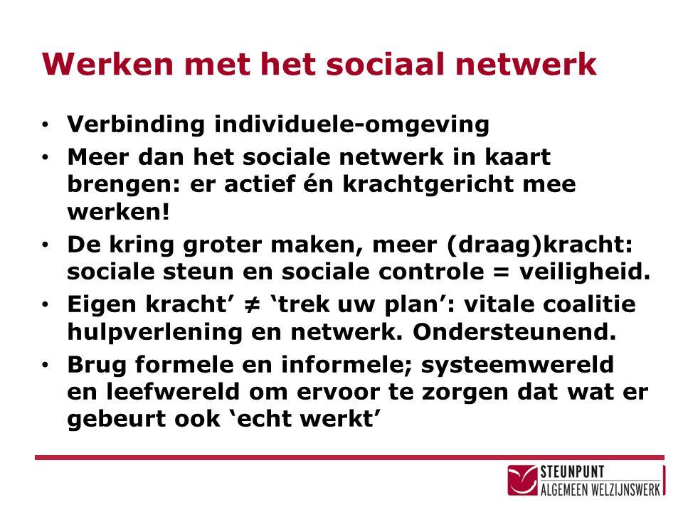Werken met het sociaal netwerk Verbinding individuele-omgeving Meer dan het sociale netwerk in kaart brengen: er actief én krachtgericht mee werken.