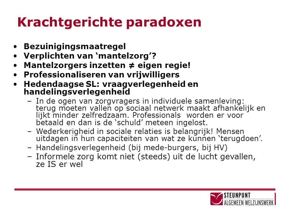 Krachtgerichte paradoxen Bezuinigingsmaatregel Verplichten van 'mantelzorg'.