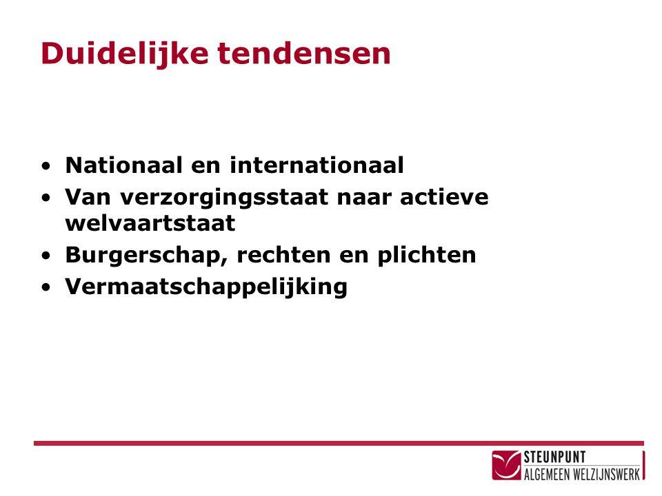 Duidelijke tendensen Nationaal en internationaal Van verzorgingsstaat naar actieve welvaartstaat Burgerschap, rechten en plichten Vermaatschappelijking
