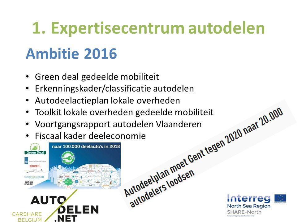 1. Expertisecentrum autodelen Ambitie 2016 Green deal gedeelde mobiliteit Erkenningskader/classificatie autodelen Autodeelactieplan lokale overheden T