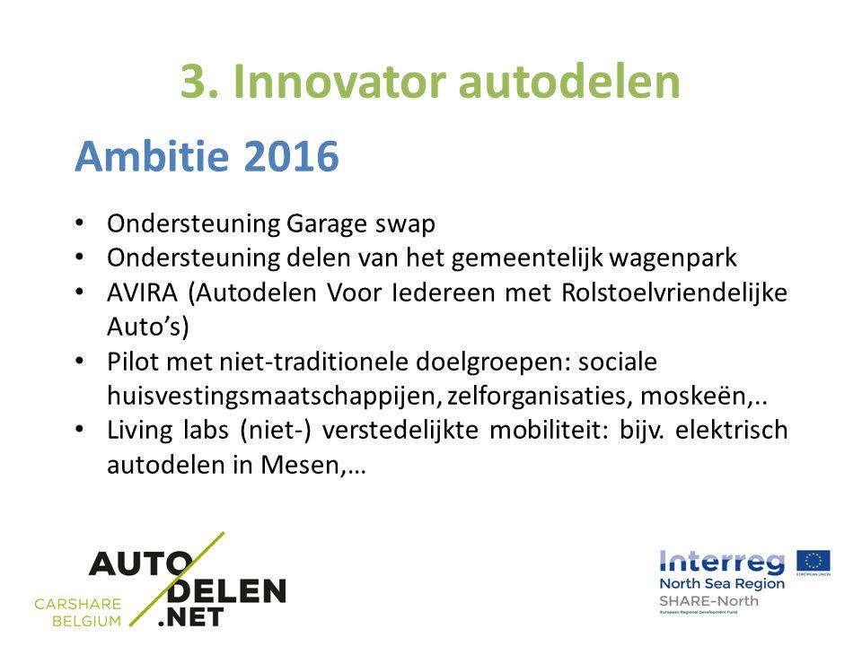 3. Innovator autodelen Ambitie 2016 Ondersteuning Garage swap Ondersteuning delen van het gemeentelijk wagenpark AVIRA (Autodelen Voor Iedereen met Ro