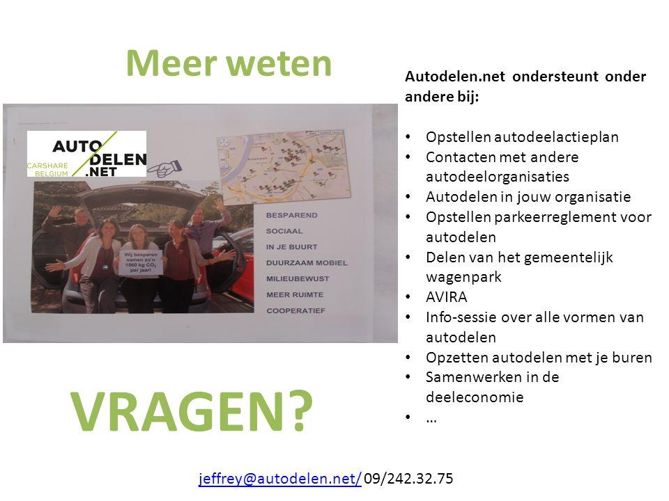 Meer weten jeffrey@autodelen.net/jeffrey@autodelen.net/ 09/242.32.75 Autodelen.net ondersteunt onder andere bij: Opstellen autodeelactieplan Contacten
