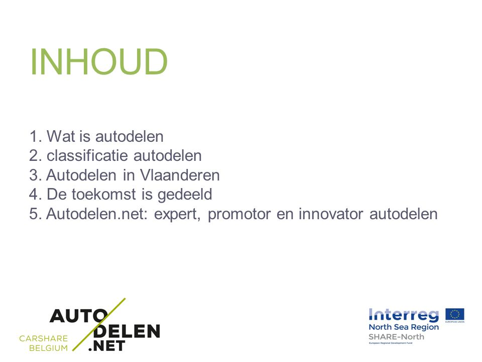 INHOUD 1. Wat is autodelen 2. classificatie autodelen 3.