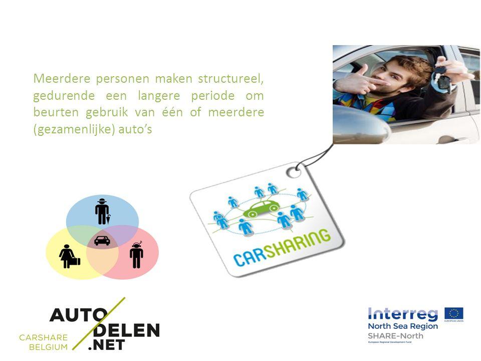 Meerdere personen maken structureel, gedurende een langere periode om beurten gebruik van één of meerdere (gezamenlijke) auto's