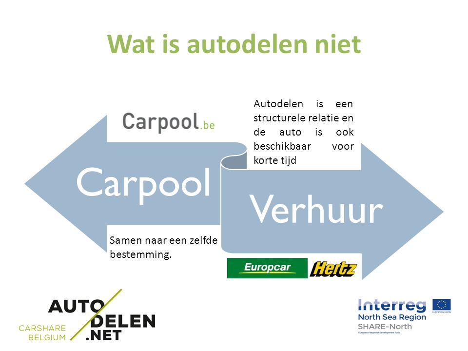 Wat is autodelen niet Carpool Verhuur Samen naar een zelfde bestemming. Autodelen is een structurele relatie en de auto is ook beschikbaar voor korte