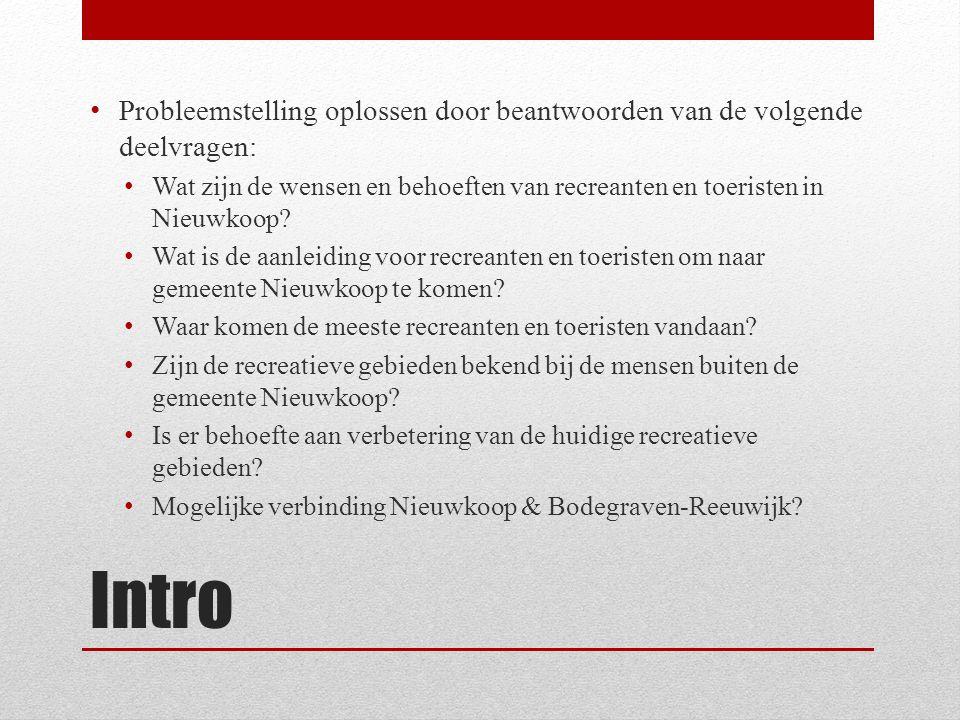 Intro Probleemstelling oplossen door beantwoorden van de volgende deelvragen: Wat zijn de wensen en behoeften van recreanten en toeristen in Nieuwkoop.