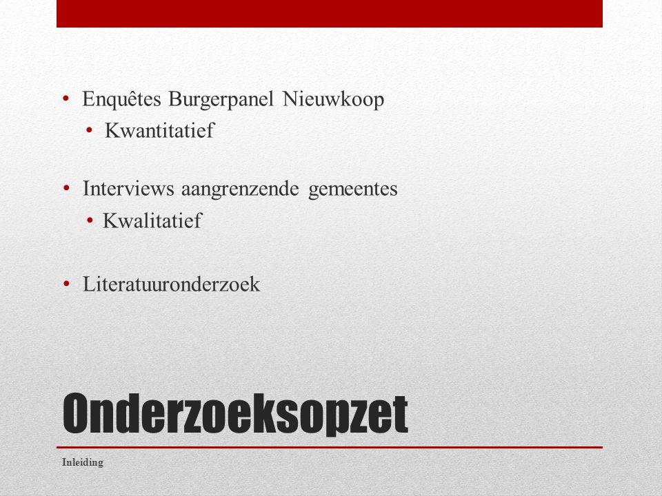 Onderzoeksopzet Enquêtes Burgerpanel Nieuwkoop Kwantitatief Interviews aangrenzende gemeentes Kwalitatief Literatuuronderzoek Inleiding