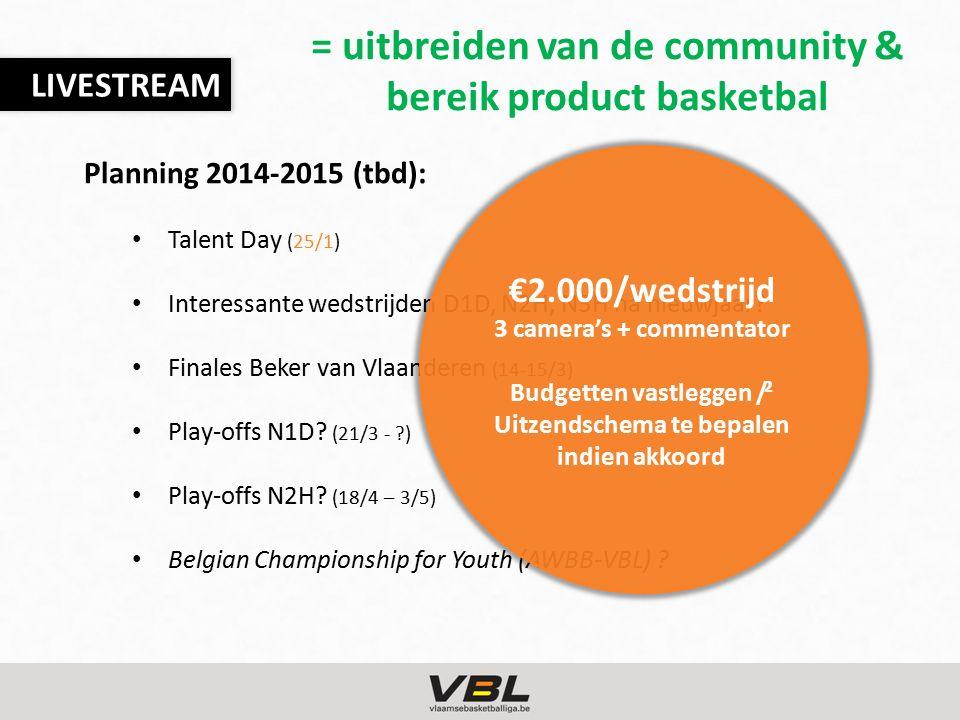 LIVESTREAM Planning 2014-2015 (tbd): Talent Day (25/1) Interessante wedstrijden D1D, N2H, N3H na nieuwjaar? Finales Beker van Vlaanderen (14-15/3) Pla