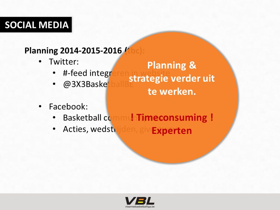 Planning 2014-2015-2016 (tbc): Twitter: #-feed integreren in website @3X3BasketballBE Facebook: Basketball community-news Acties, wedstrijden, give-aways SOCIAL MEDIA Planning & strategie verder uit te werken.