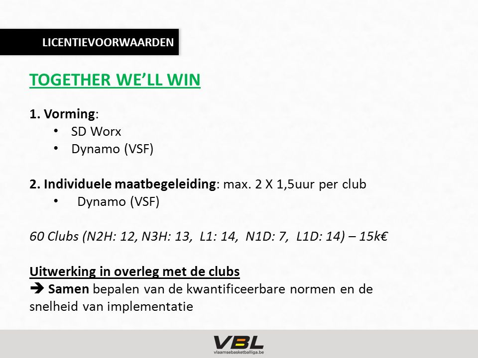 TOGETHER WE'LL WIN 1. Vorming: SD Worx Dynamo (VSF) 2.