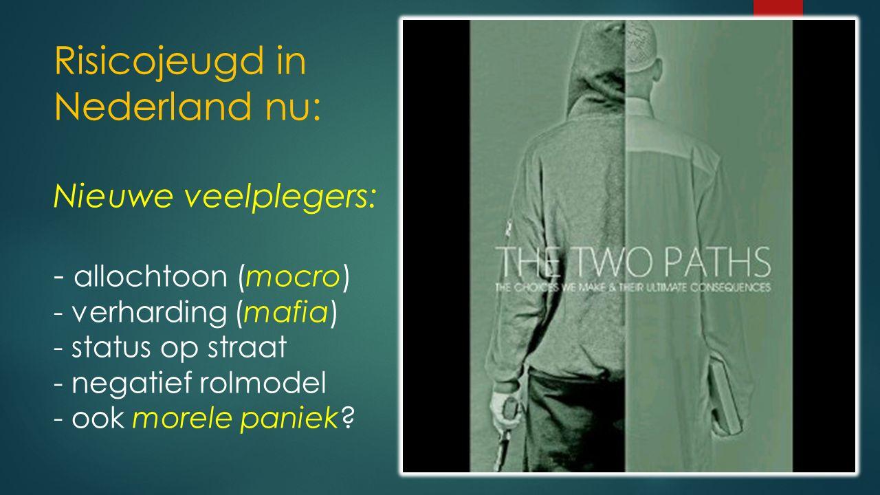 Risicojeugd in Nederland nu: Nieuwe veelplegers: - allochtoon (mocro) - verharding (mafia) - status op straat - negatief rolmodel - ook morele paniek