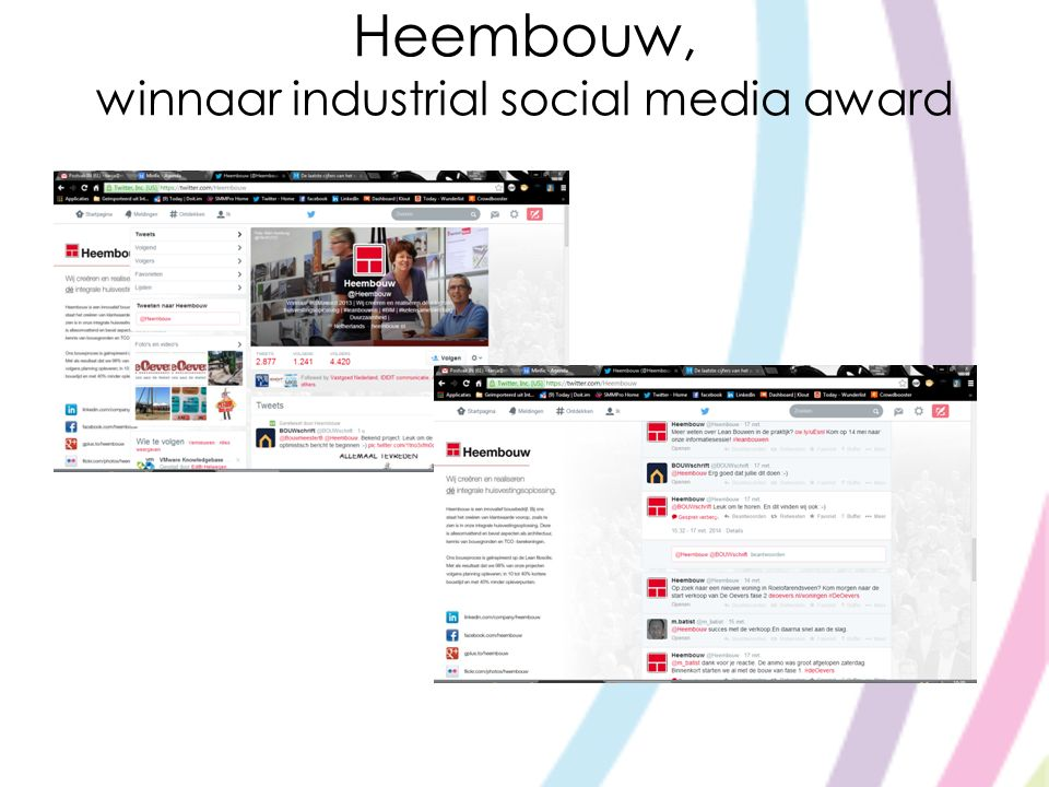 Heembouw, winnaar industrial social media award