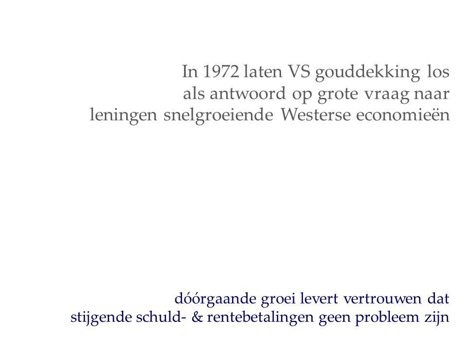 dóórgaande groei levert vertrouwen dat stijgende schuld- & rentebetalingen geen probleem zijn In 1972 laten VS gouddekking los als antwoord op grote vraag naar leningen snelgroeiende Westerse economieën