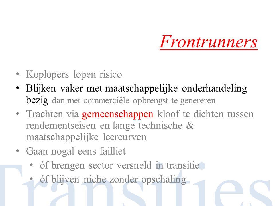 Transities Frontrunners Koplopers lopen risico Blijken vaker met maatschappelijke onderhandeling bezig dan met commerciële opbrengst te genereren Trac