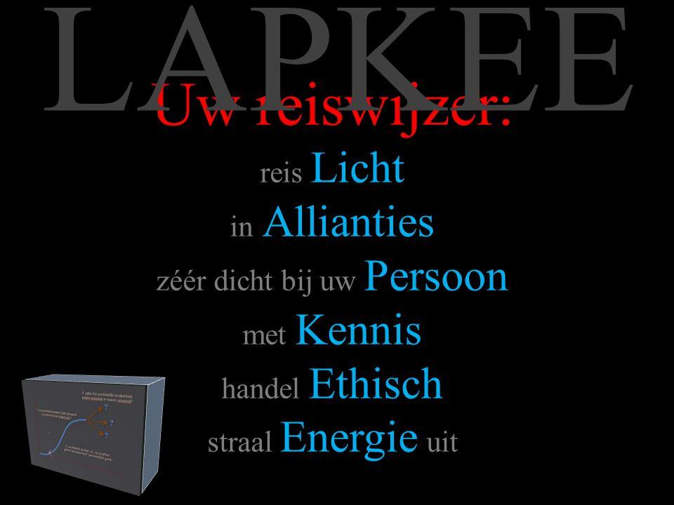 Uw reiswijzer: reis Licht in Allianties zéér dicht bij uw Persoon met Kennis handel Ethisch straal Energie uit LAPKEE