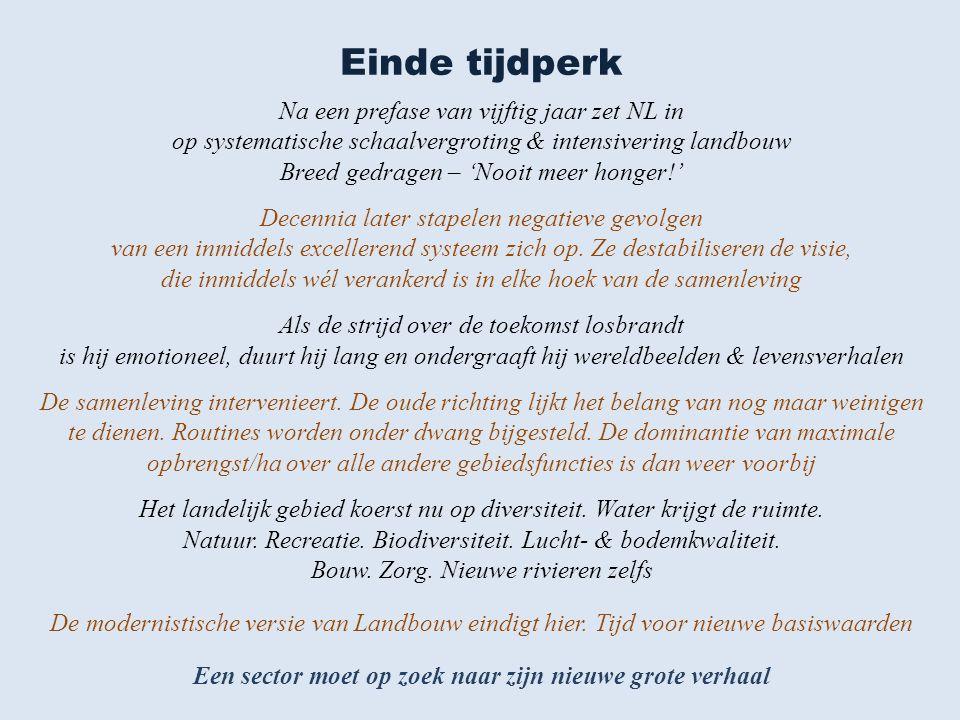 Einde tijdperk Na een prefase van vijftig jaar zet NL in op systematische schaalvergroting & intensivering landbouw Breed gedragen – 'Nooit meer honger!' Decennia later stapelen negatieve gevolgen van een inmiddels excellerend systeem zich op.