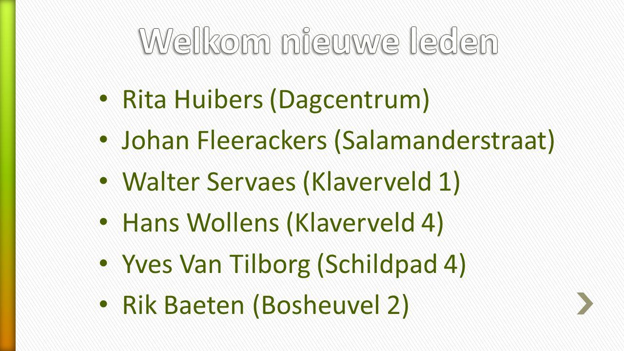 Rita Huibers (Dagcentrum) Johan Fleerackers (Salamanderstraat) Walter Servaes (Klaverveld 1) Hans Wollens (Klaverveld 4) Yves Van Tilborg (Schildpad 4) Rik Baeten (Bosheuvel 2)