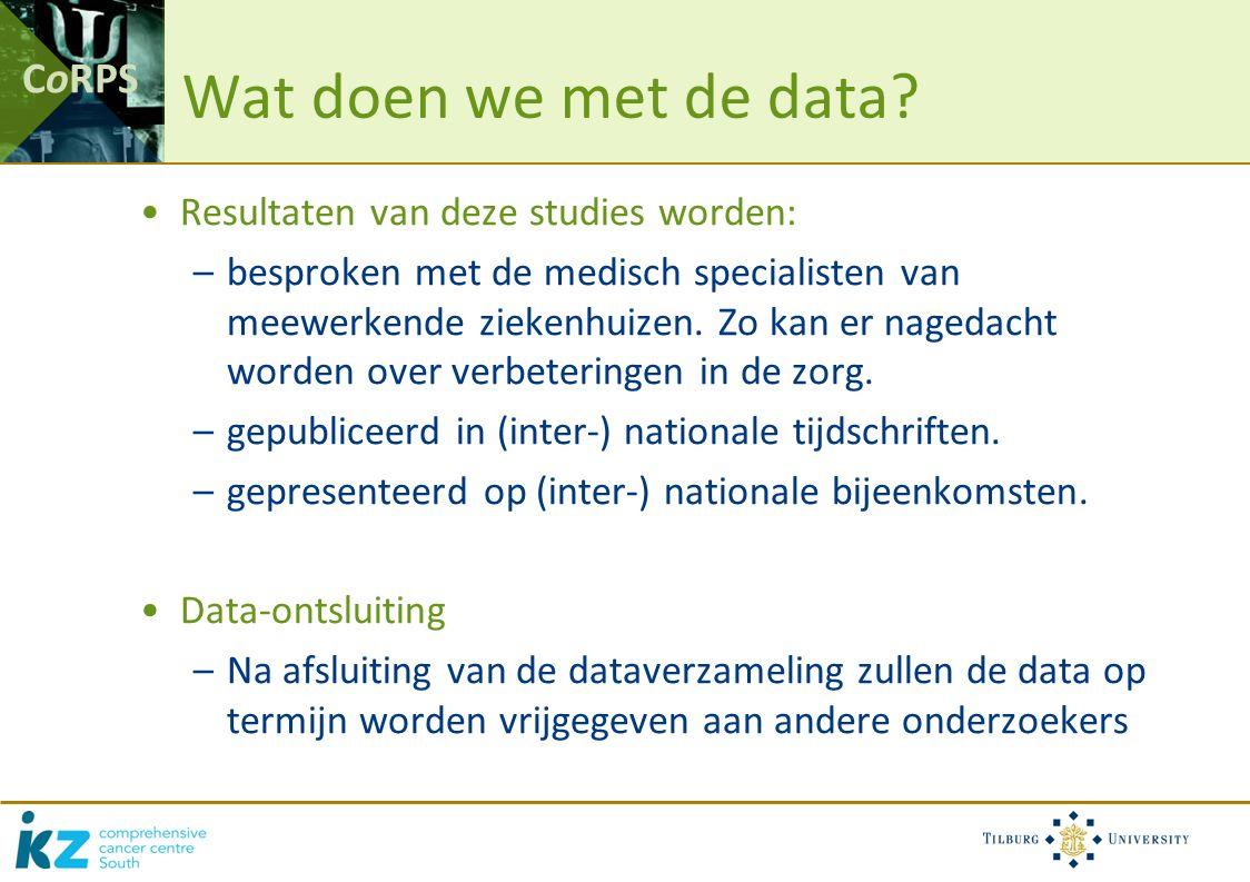 CoRPS Wat doen we met de data.