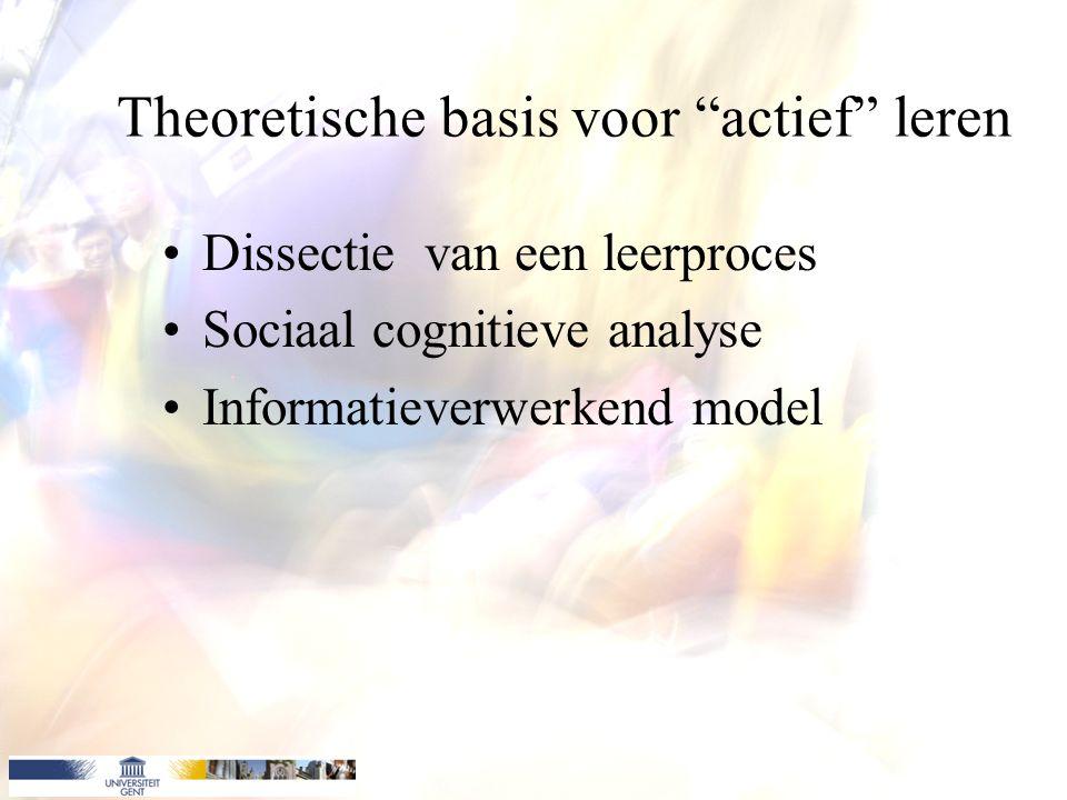Theoretische basis voor actief leren Dissectie van een leerproces Sociaal cognitieve analyse Informatieverwerkend model