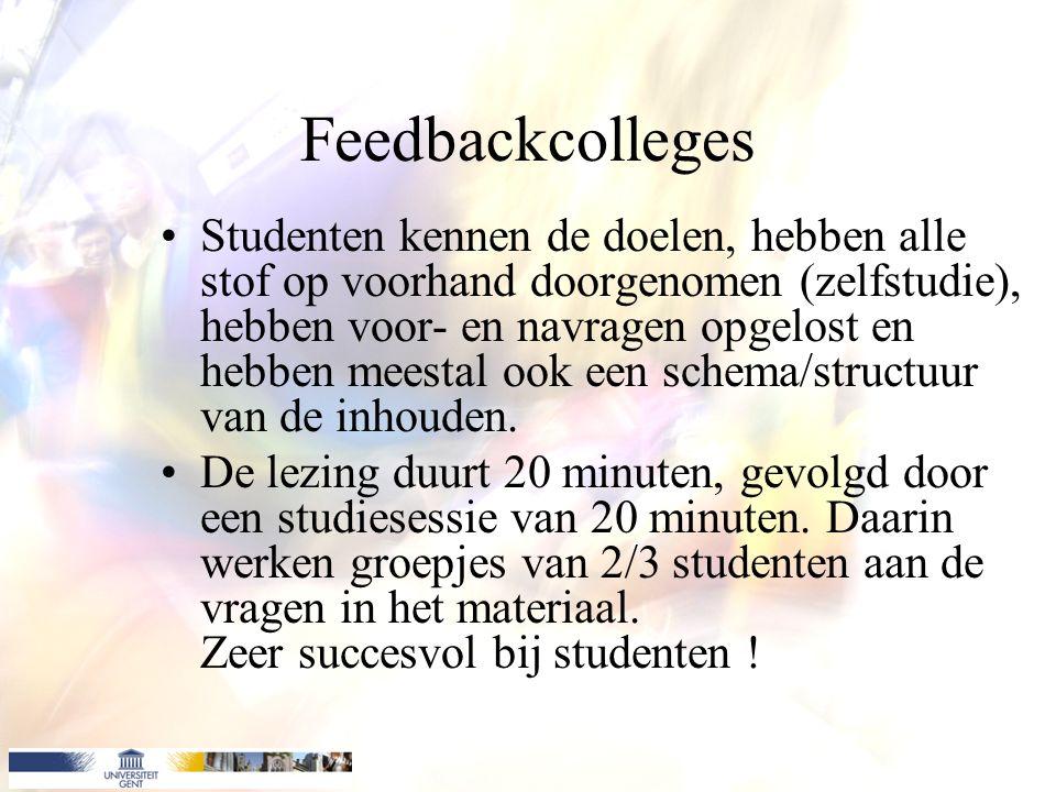 Feedbackcolleges Studenten kennen de doelen, hebben alle stof op voorhand doorgenomen (zelfstudie), hebben voor- en navragen opgelost en hebben meestal ook een schema/structuur van de inhouden.