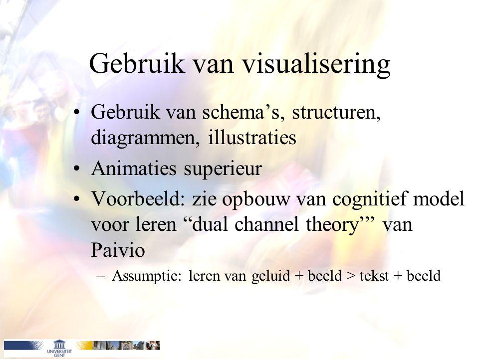 Gebruik van visualisering Gebruik van schema's, structuren, diagrammen, illustraties Animaties superieur Voorbeeld: zie opbouw van cognitief model voor leren dual channel theory' van Paivio –Assumptie: leren van geluid + beeld > tekst + beeld