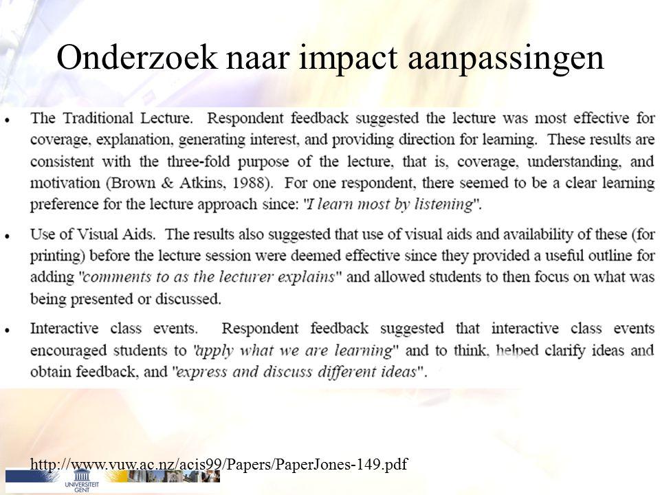 Onderzoek naar impact aanpassingen http://www.vuw.ac.nz/acis99/Papers/PaperJones-149.pdf