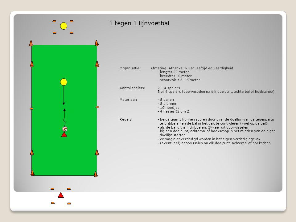 Bedoeling van deze vorm KarakteristiekAanvallen - scoren door over de doellijn te dribbelen Eisen aan het spelAanvallen - overzicht in de situaties en het kiezen van het juiste moment en de richting van de passeeractie, het afsnijden van de pas van de tegenstander en het afschermen van de bal MethodiekMoeilijker / Makkelijker Aanvallen moeilijker maken - veld smaller maken - deel van de lijn waarover gedribbeld kan worden kleiner maken - oefenvorm 3.4 (2 tegen 2 lijnvoetbal) Aanvallen makkelijker maken - veld breder maken - oefenvorm 3.6 (1 tegen 1 met 4 doeltjes)